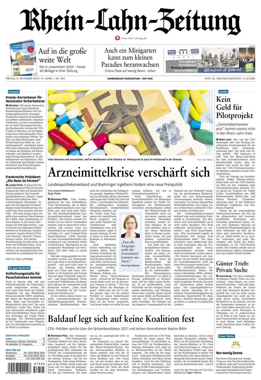 Rhein-Lahn-Zeitung Bad Ems vom Freitag, 08.11.2019