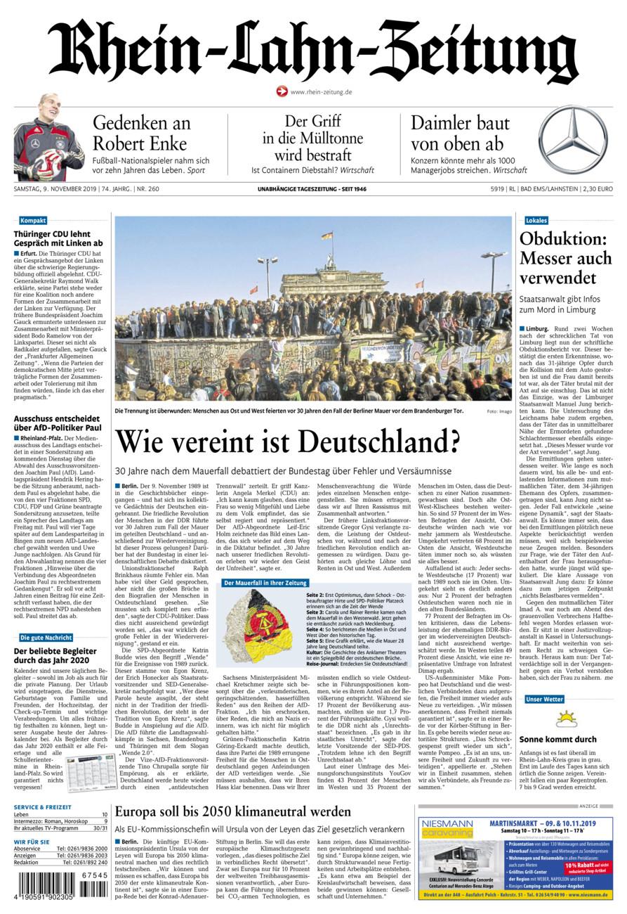 Rhein-Lahn-Zeitung Bad Ems vom Samstag, 09.11.2019