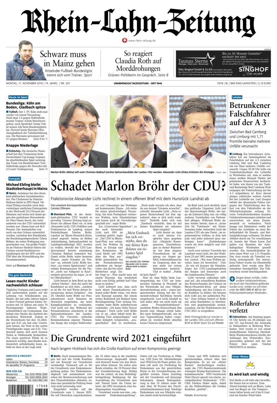 Rhein-Lahn-Zeitung Bad Ems vom Montag, 11.11.2019