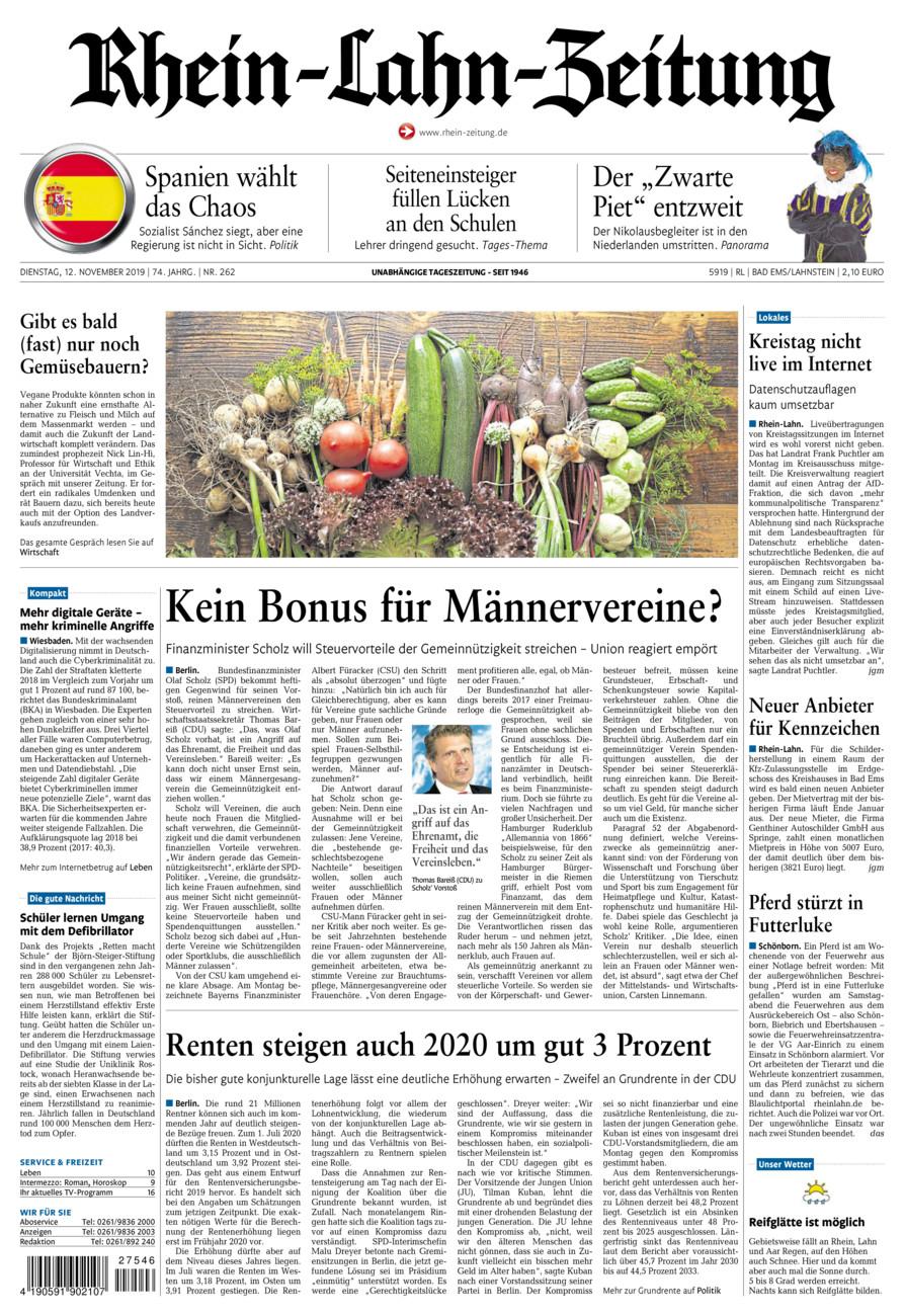 Rhein-Lahn-Zeitung Bad Ems vom Dienstag, 12.11.2019