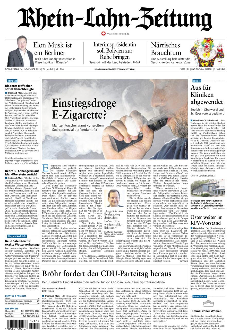 Rhein-Lahn-Zeitung Bad Ems vom Donnerstag, 14.11.2019