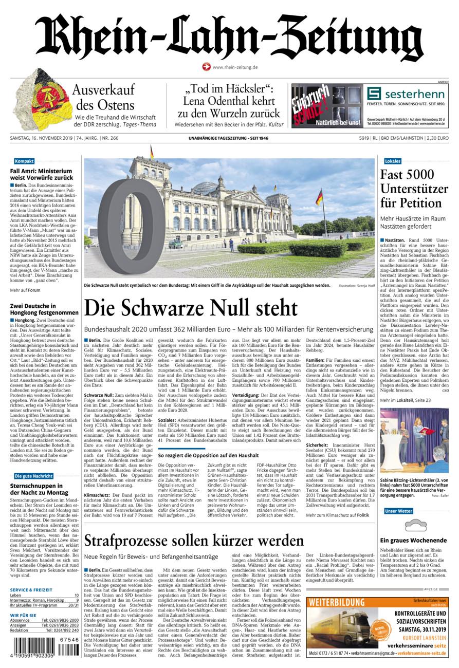 Rhein-Lahn-Zeitung Bad Ems vom Samstag, 16.11.2019