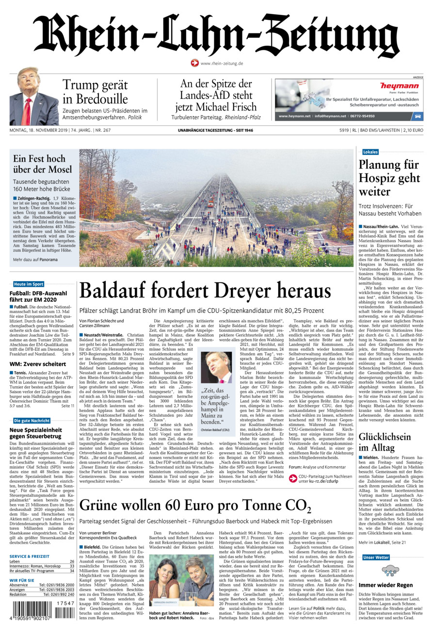 Rhein-Lahn-Zeitung Bad Ems vom Montag, 18.11.2019