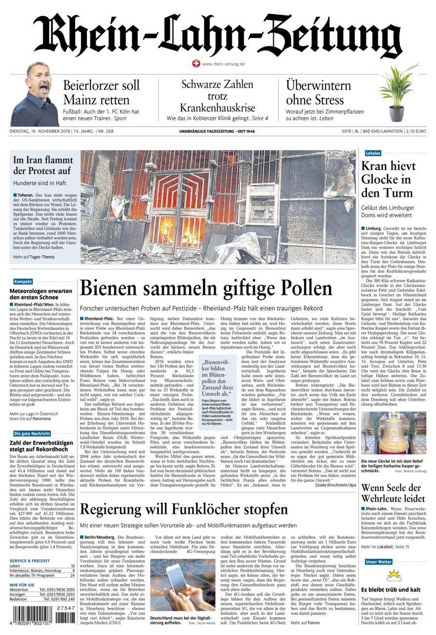 Rhein-Lahn-Zeitung Bad Ems vom Dienstag, 19.11.2019