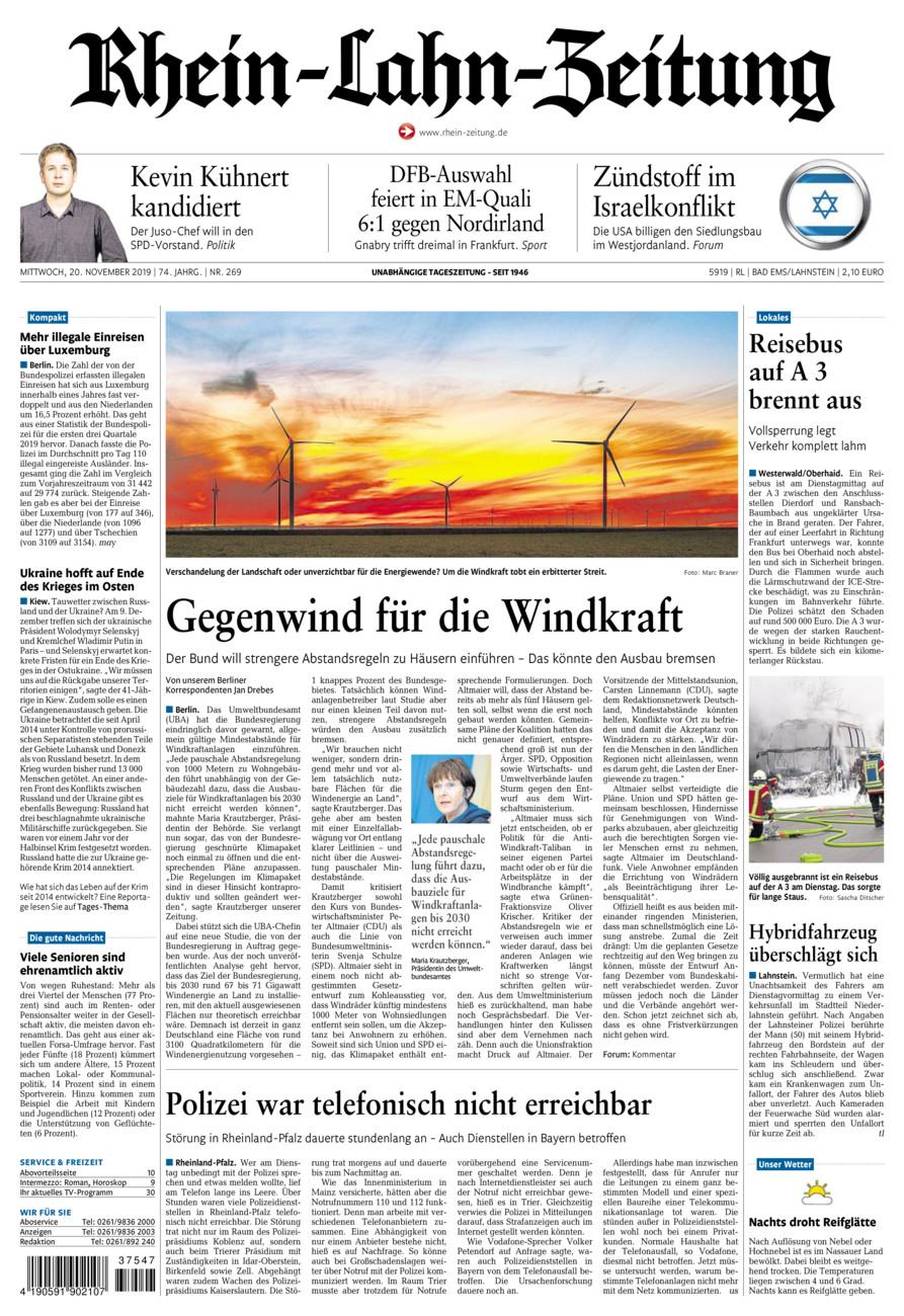 Rhein-Lahn-Zeitung Bad Ems vom Mittwoch, 20.11.2019