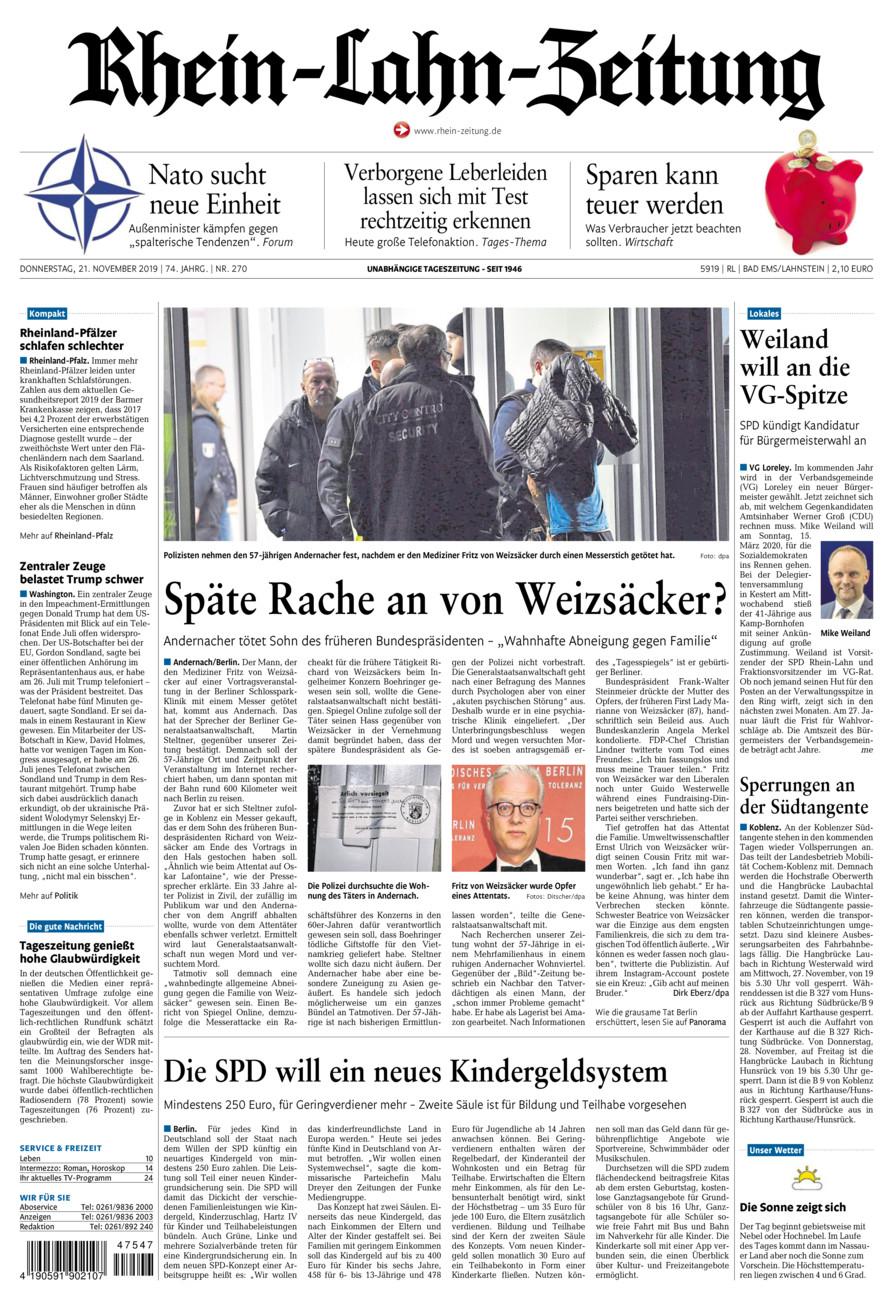 Rhein-Lahn-Zeitung Bad Ems vom Donnerstag, 21.11.2019