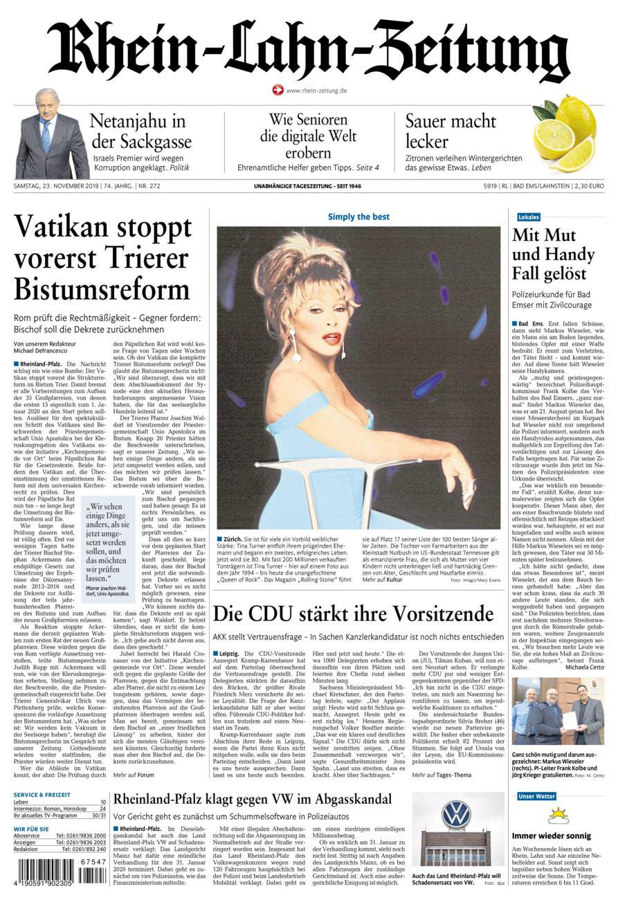 Rhein-Lahn-Zeitung Bad Ems vom Samstag, 23.11.2019