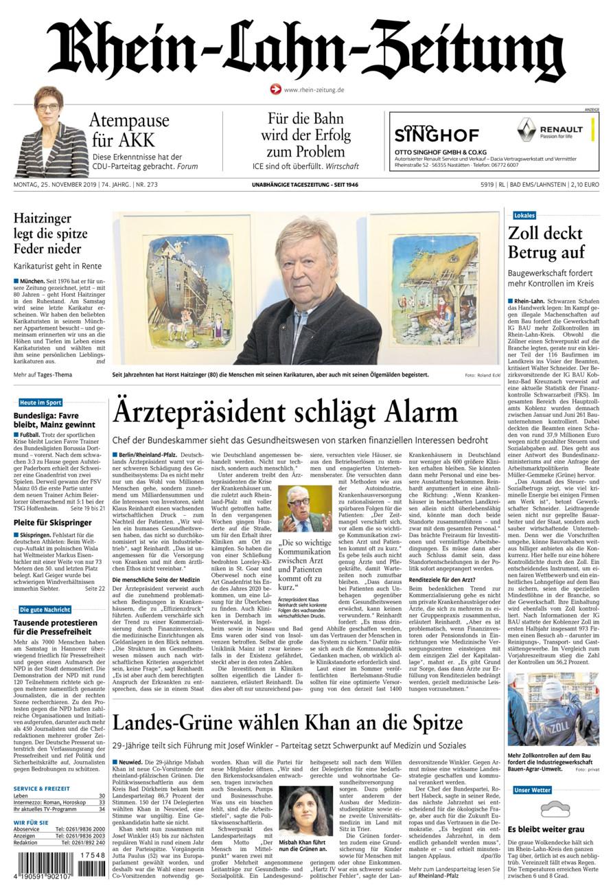 Rhein-Lahn-Zeitung Bad Ems vom Montag, 25.11.2019