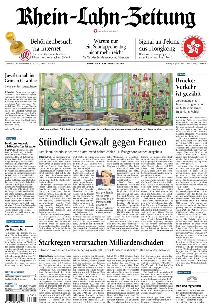 Rhein-Lahn-Zeitung Bad Ems vom Dienstag, 26.11.2019