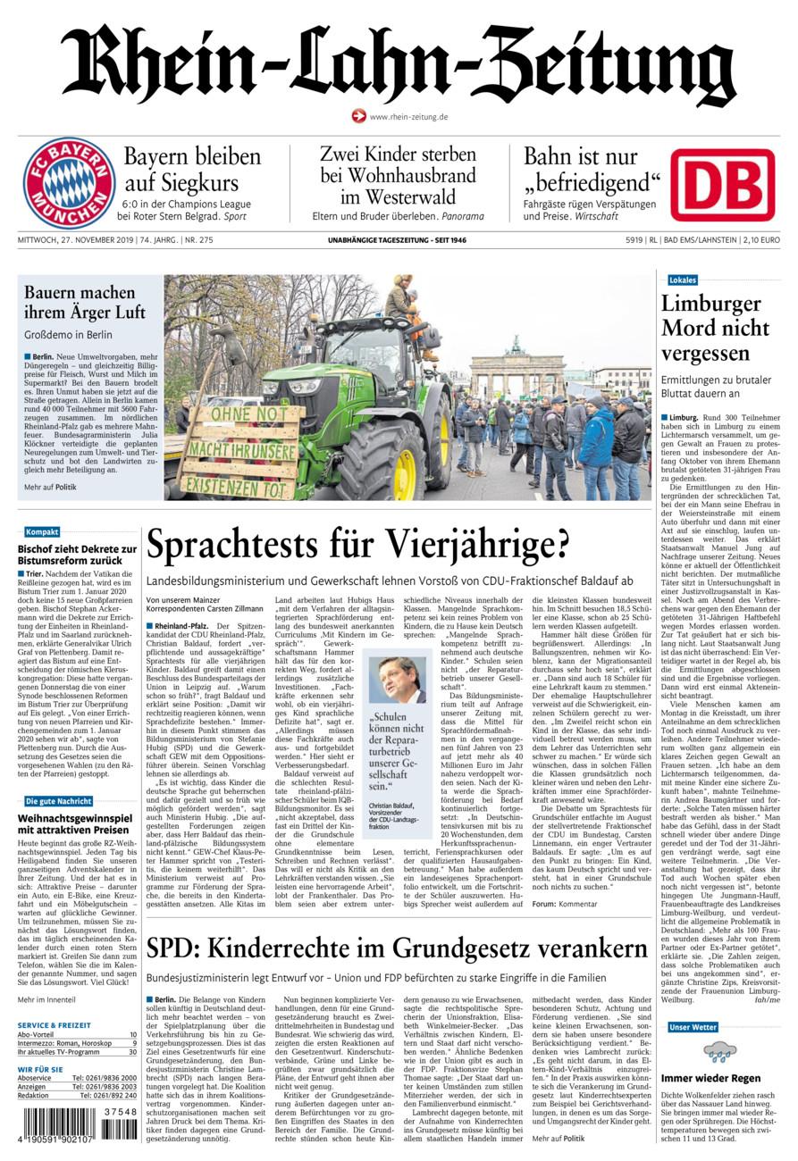 Rhein-Lahn-Zeitung Bad Ems vom Mittwoch, 27.11.2019