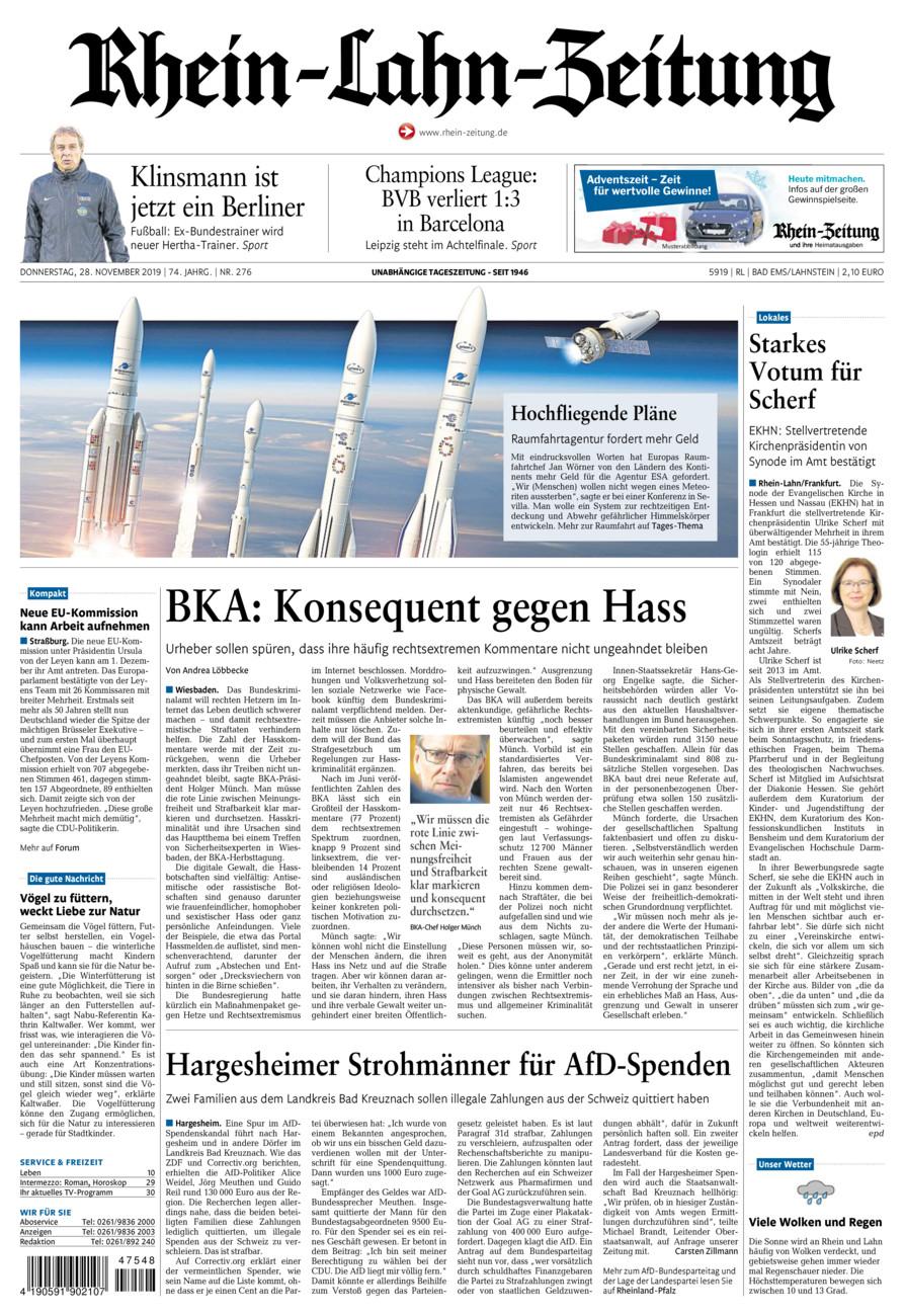 Rhein-Lahn-Zeitung Bad Ems vom Donnerstag, 28.11.2019