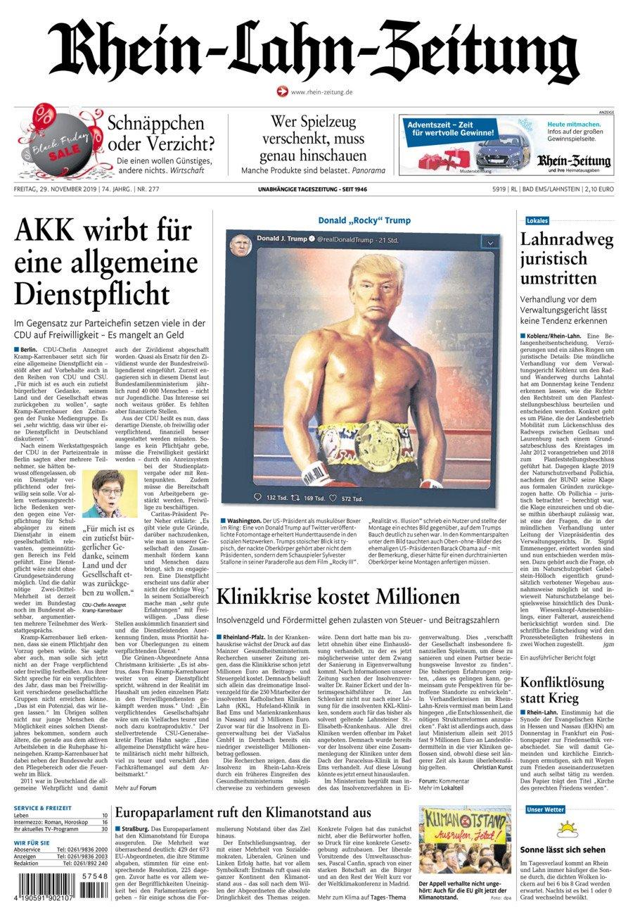 Rhein-Lahn-Zeitung Bad Ems vom Freitag, 29.11.2019