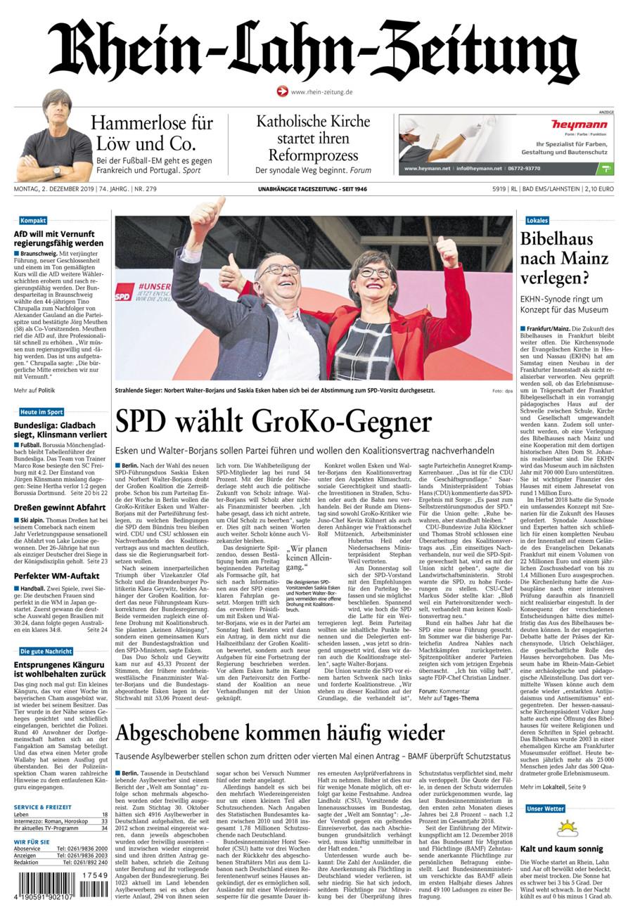 Rhein-Lahn-Zeitung Bad Ems vom Montag, 02.12.2019