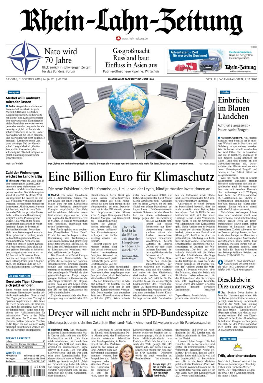 Rhein-Lahn-Zeitung Bad Ems vom Dienstag, 03.12.2019