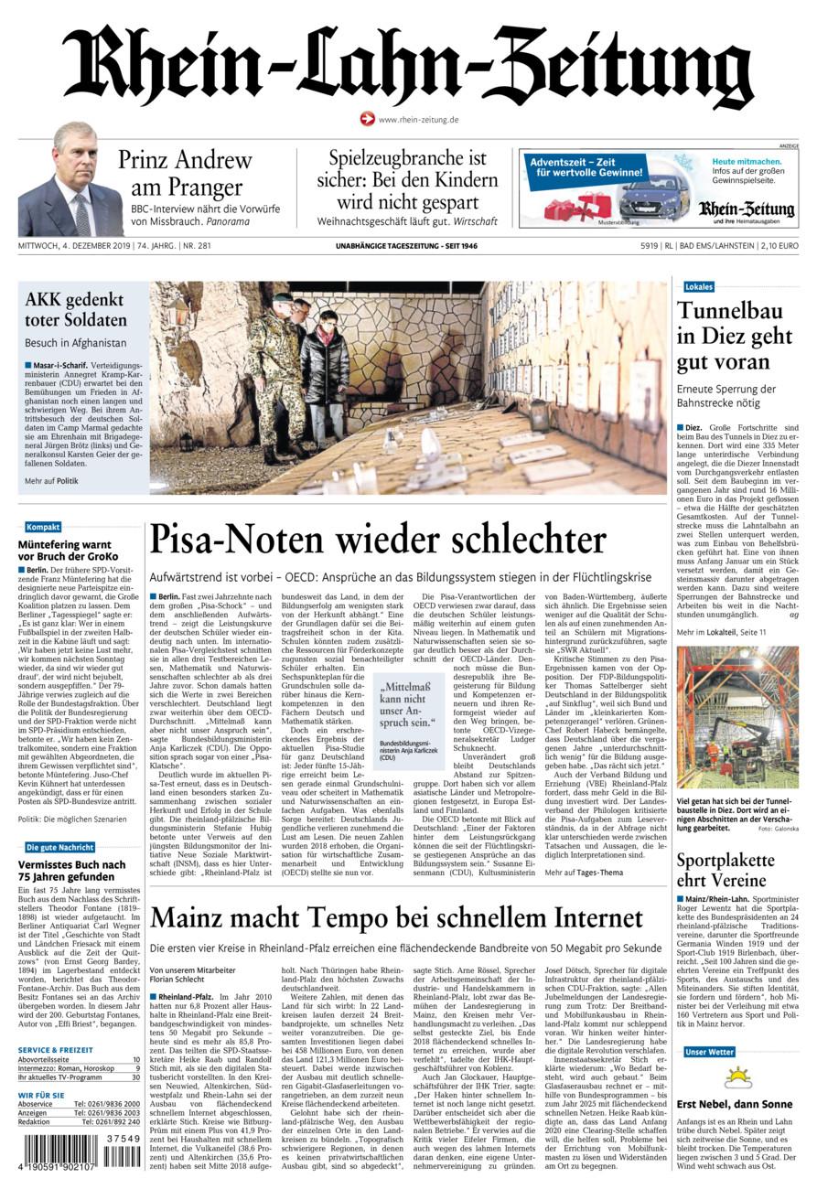 Rhein-Lahn-Zeitung Bad Ems vom Mittwoch, 04.12.2019
