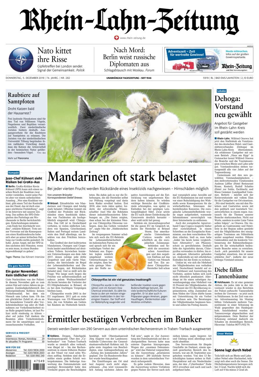 Rhein-Lahn-Zeitung Bad Ems vom Donnerstag, 05.12.2019