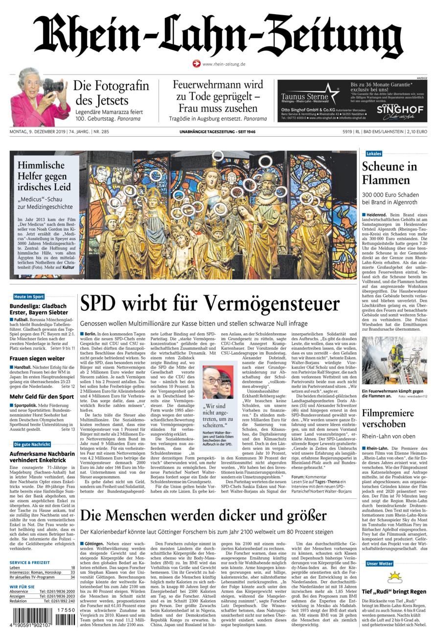 Rhein-Lahn-Zeitung Bad Ems vom Montag, 09.12.2019