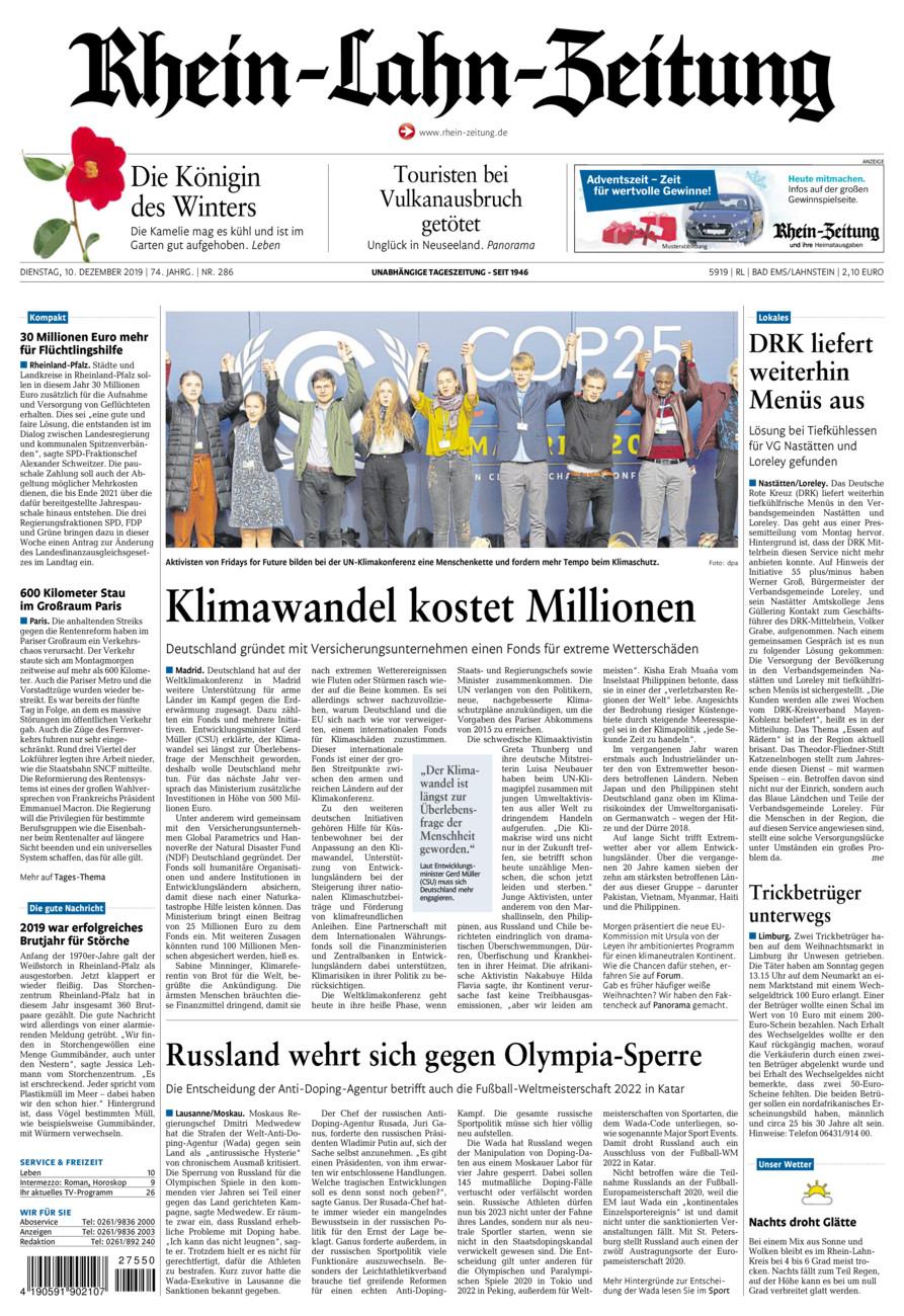 Rhein-Lahn-Zeitung Bad Ems vom Dienstag, 10.12.2019