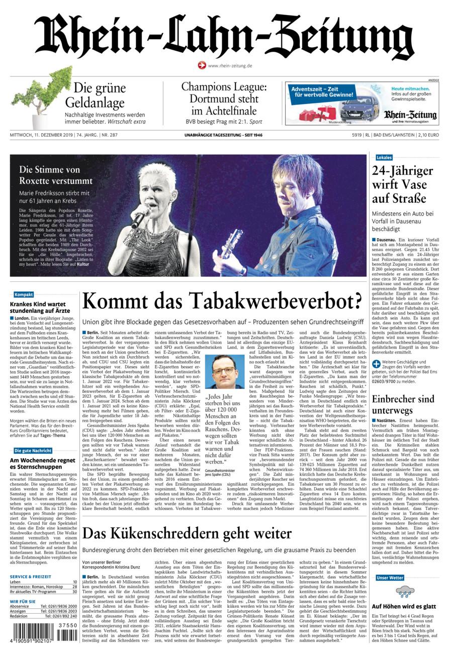 Rhein-Lahn-Zeitung Bad Ems vom Mittwoch, 11.12.2019