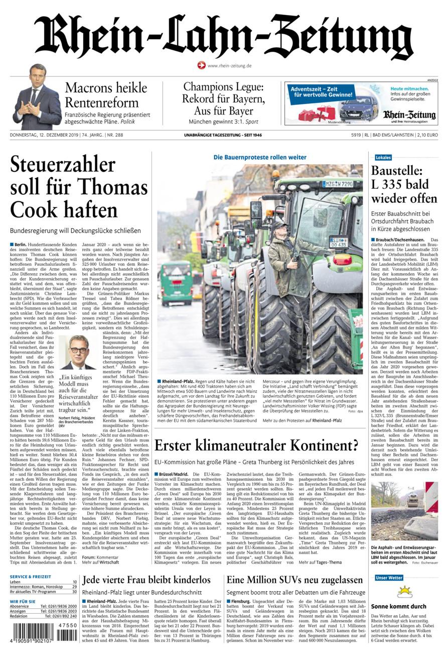 Rhein-Lahn-Zeitung Bad Ems vom Donnerstag, 12.12.2019