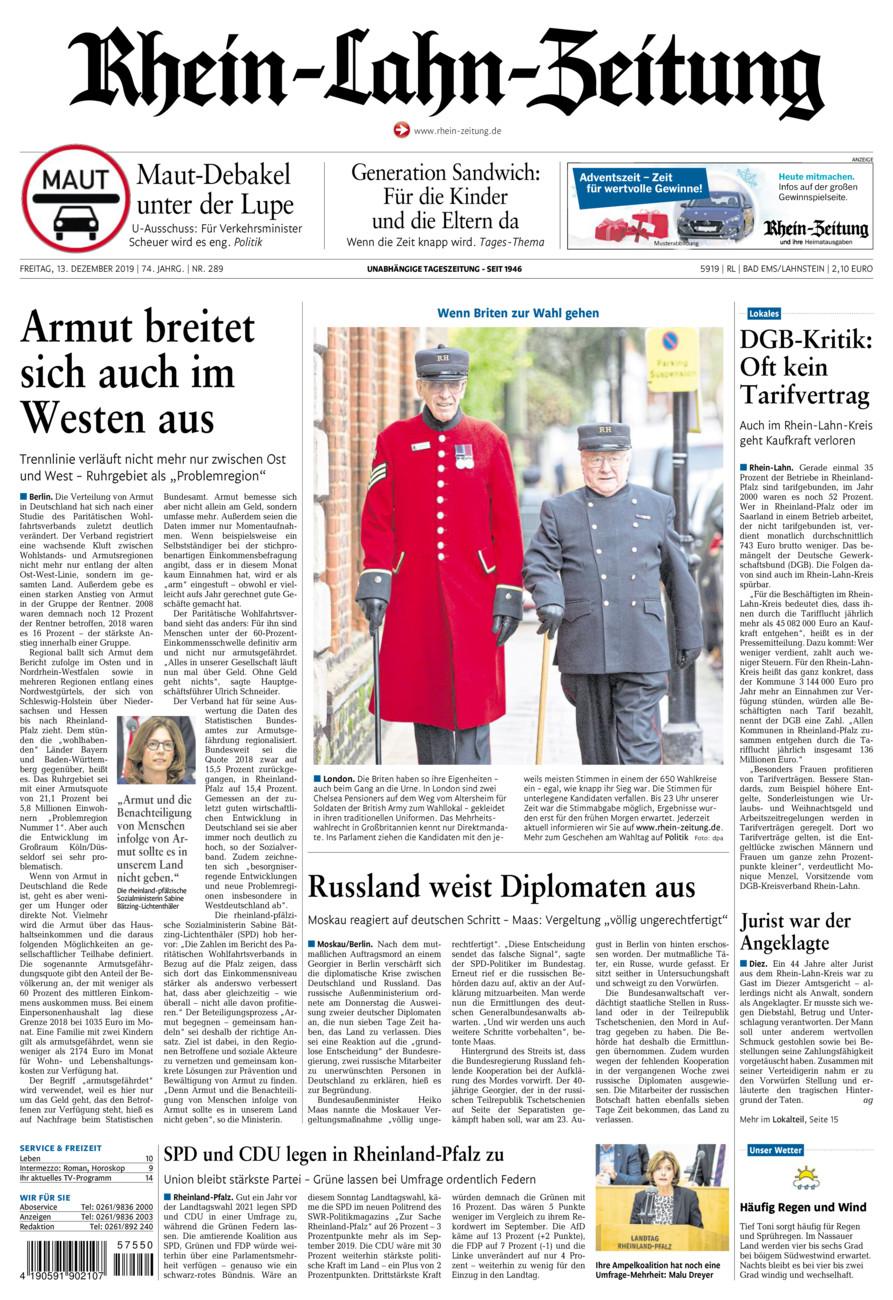 Rhein-Lahn-Zeitung Bad Ems vom Freitag, 13.12.2019
