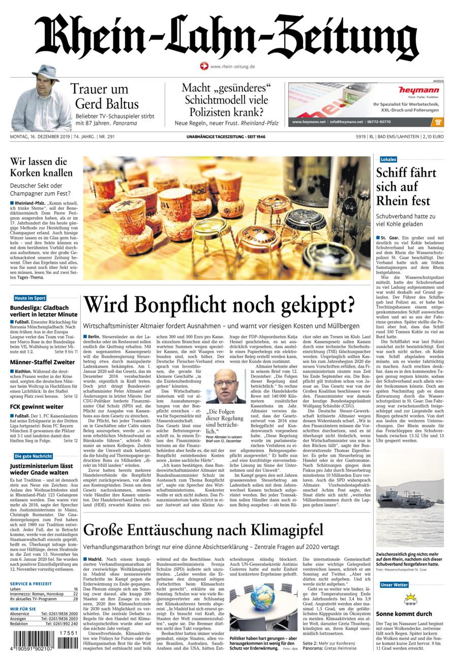 Rhein-Lahn-Zeitung Bad Ems vom Montag, 16.12.2019