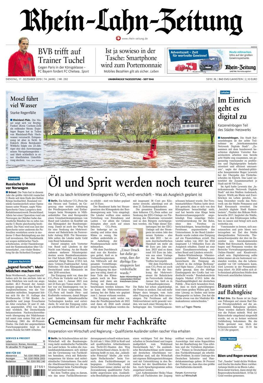 Rhein-Lahn-Zeitung Bad Ems vom Dienstag, 17.12.2019