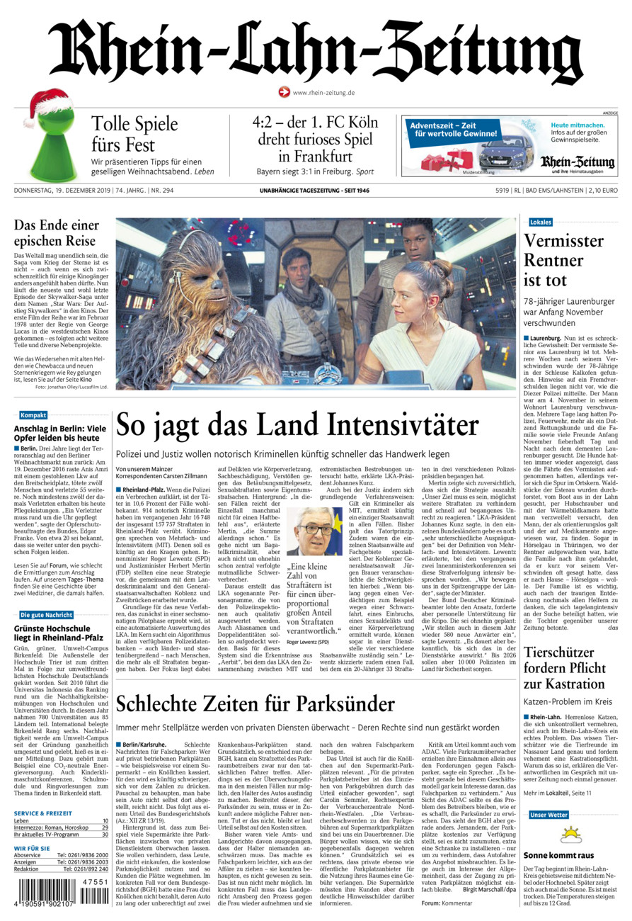 Rhein-Lahn-Zeitung Bad Ems vom Donnerstag, 19.12.2019