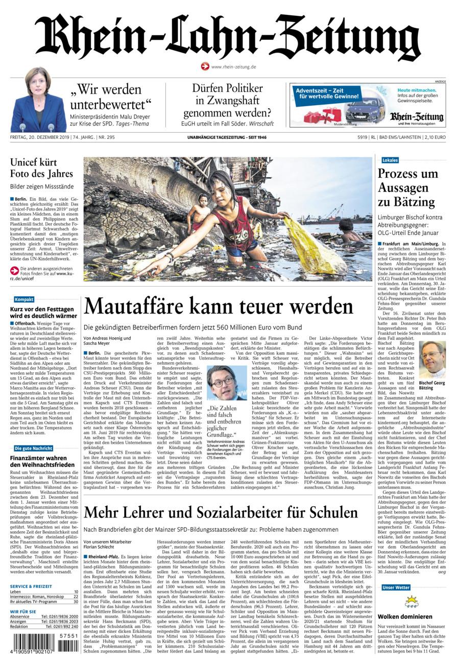 Rhein-Lahn-Zeitung Bad Ems vom Freitag, 20.12.2019