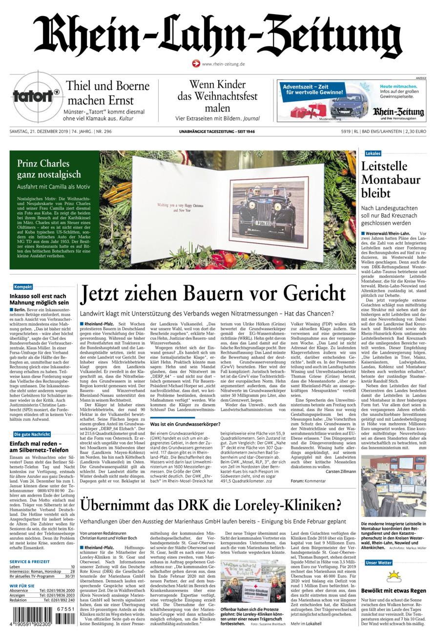 Rhein-Lahn-Zeitung Bad Ems vom Samstag, 21.12.2019
