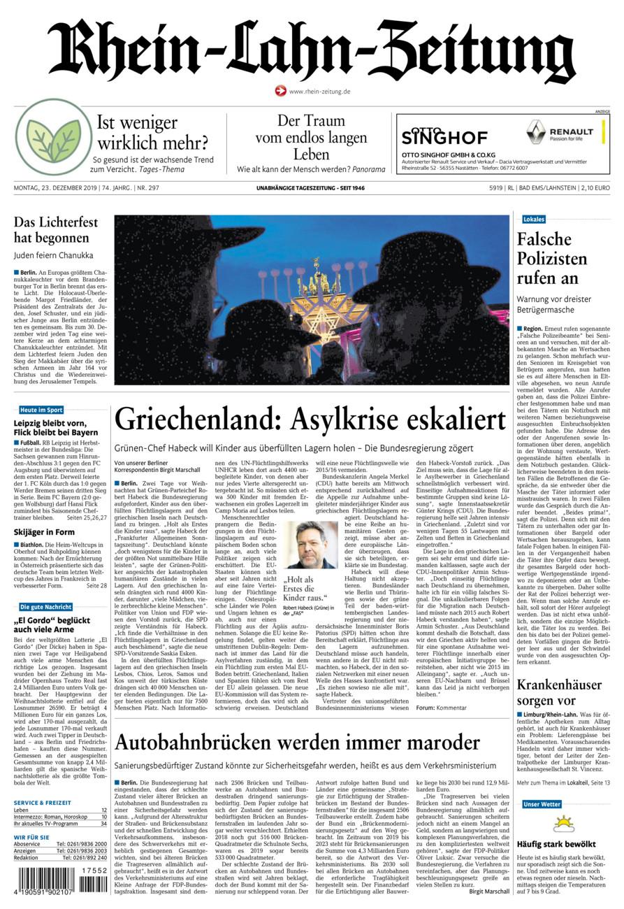 Rhein-Lahn-Zeitung Bad Ems vom Montag, 23.12.2019