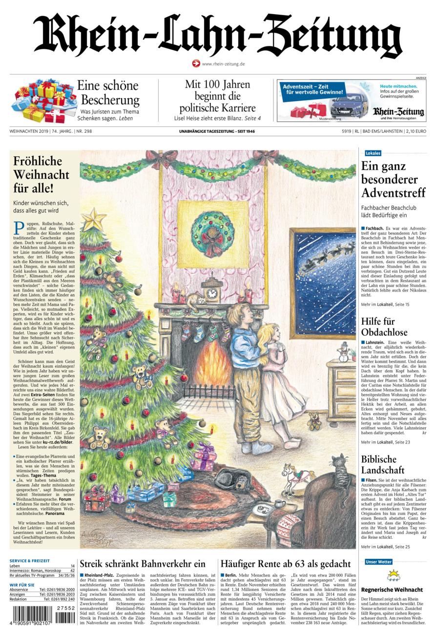 Rhein-Lahn-Zeitung Bad Ems vom Dienstag, 24.12.2019