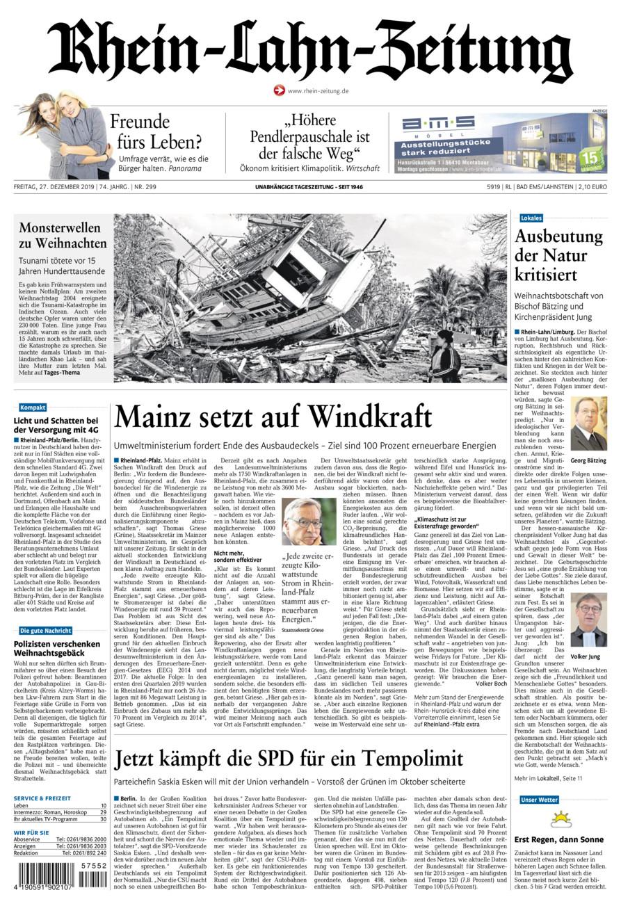 Rhein-Lahn-Zeitung Bad Ems vom Freitag, 27.12.2019