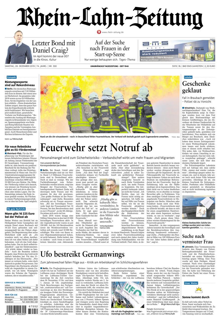Rhein-Lahn-Zeitung Bad Ems vom Samstag, 28.12.2019