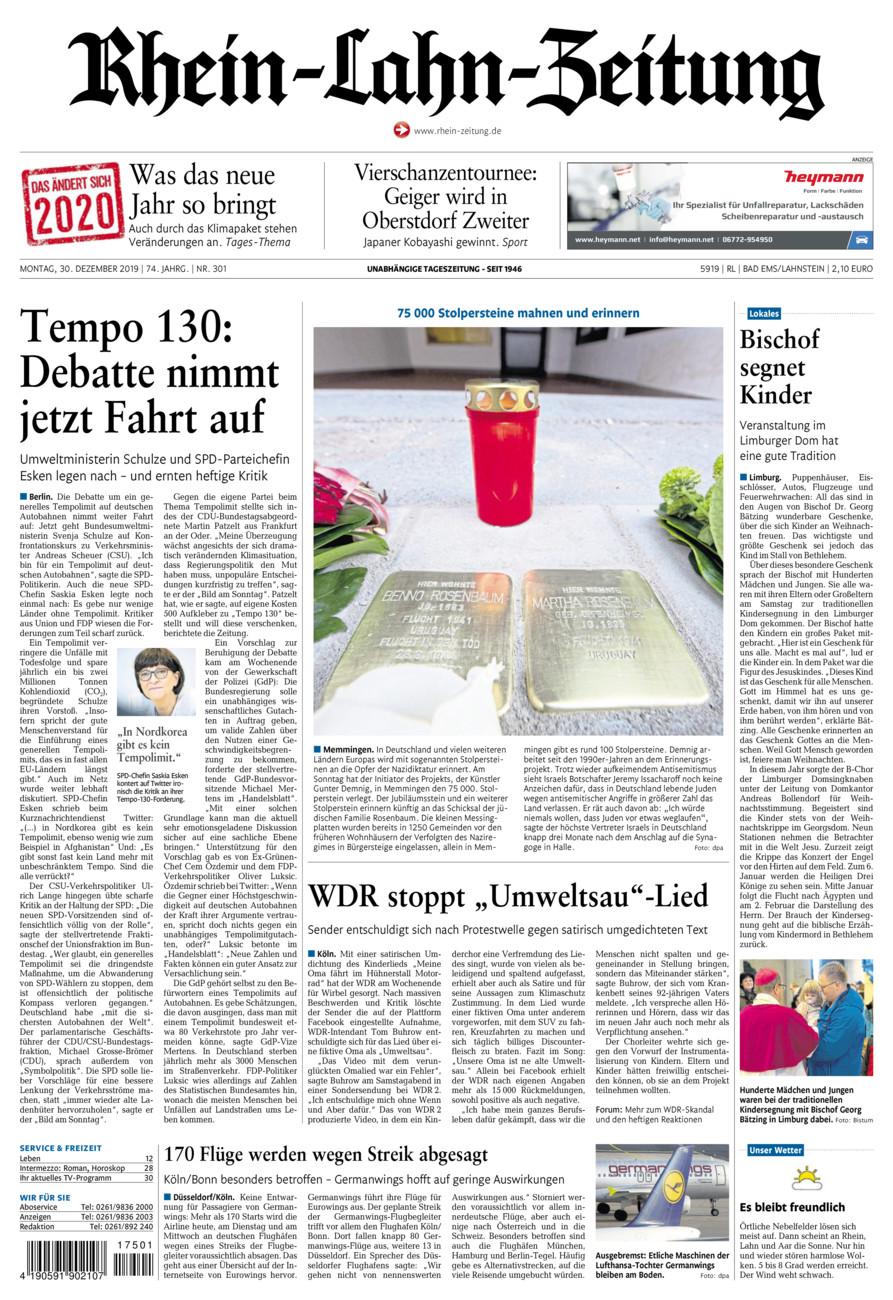 Rhein-Lahn-Zeitung Bad Ems vom Montag, 30.12.2019