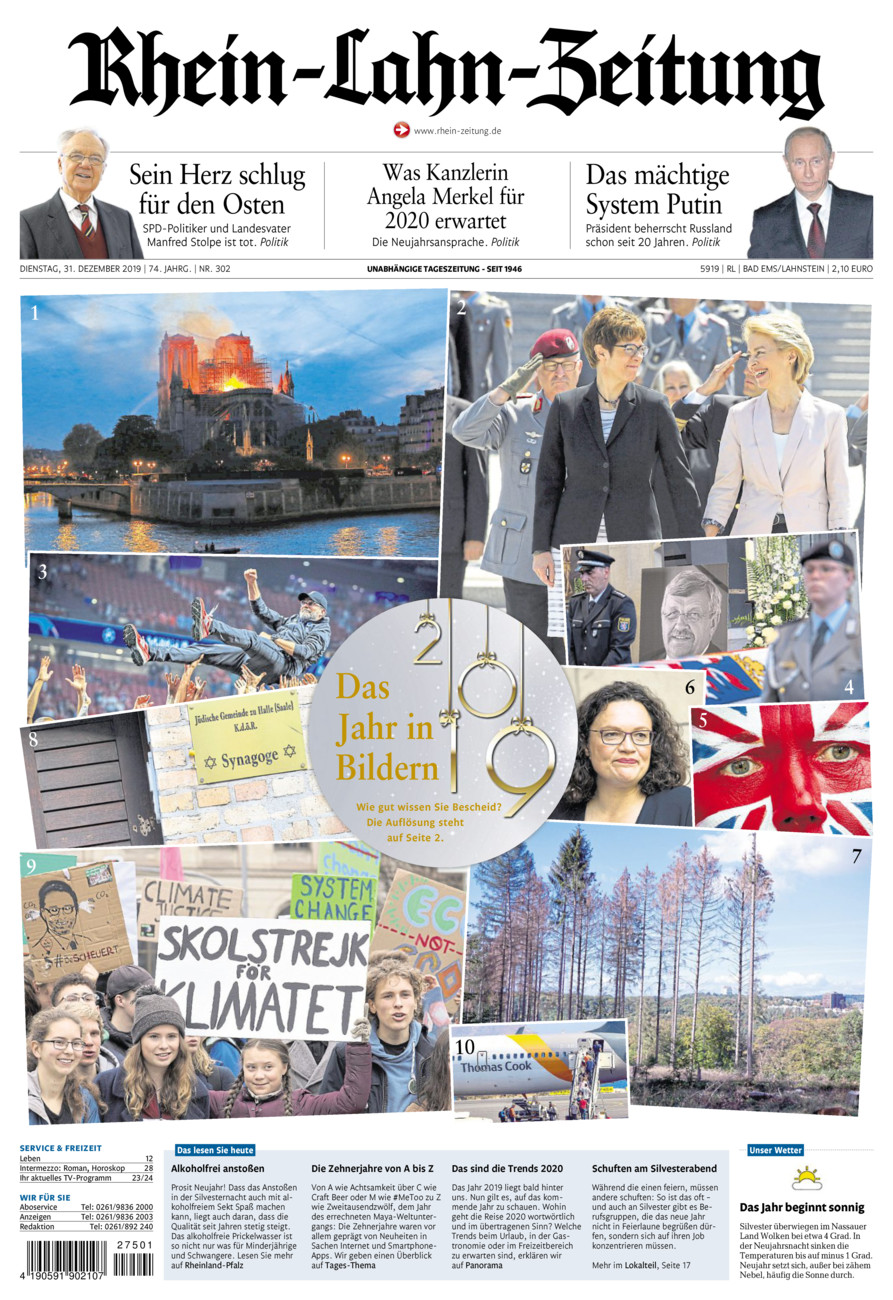 Rhein-Lahn-Zeitung Bad Ems vom Dienstag, 31.12.2019