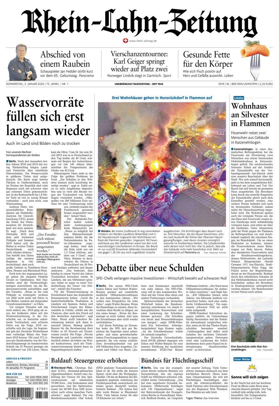 Rhein-Lahn-Zeitung Bad Ems vom Donnerstag, 02.01.2020