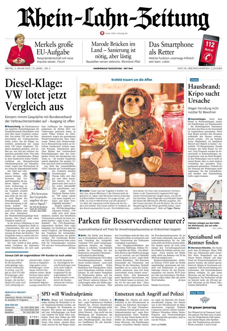 Rhein-Lahn-Zeitung Bad Ems vom Freitag, 03.01.2020
