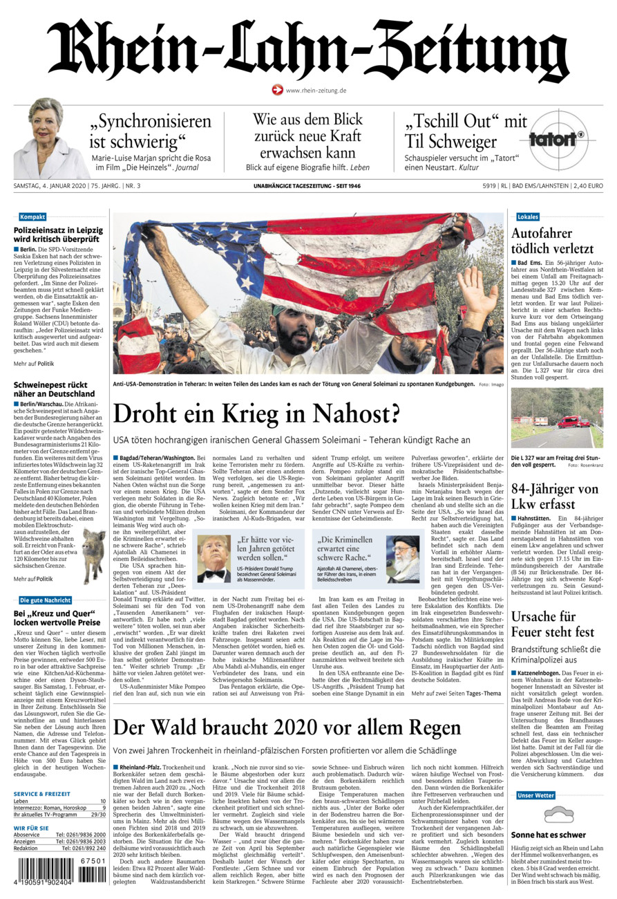 Rhein-Lahn-Zeitung Bad Ems vom Samstag, 04.01.2020
