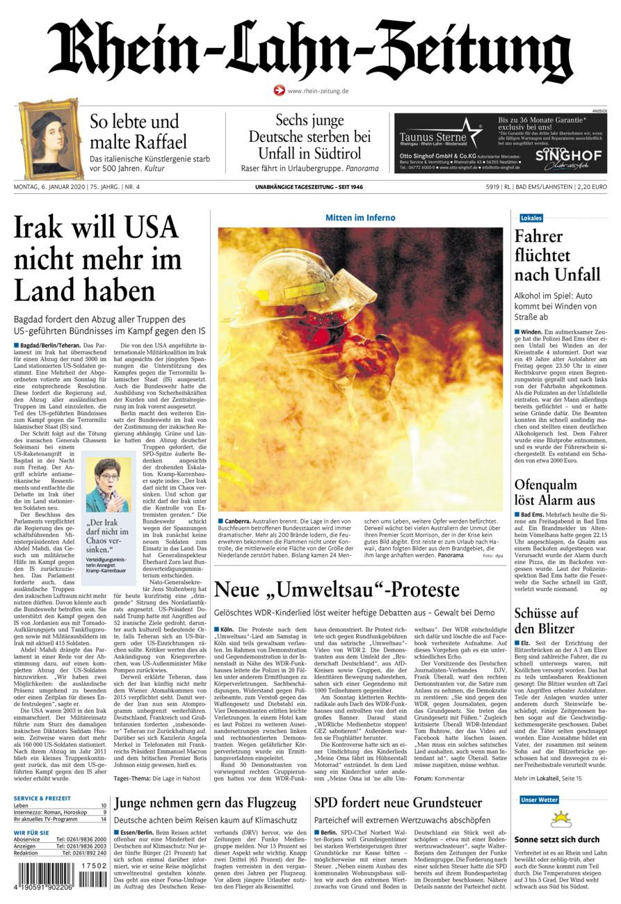 Rhein-Lahn-Zeitung Bad Ems vom Montag, 06.01.2020