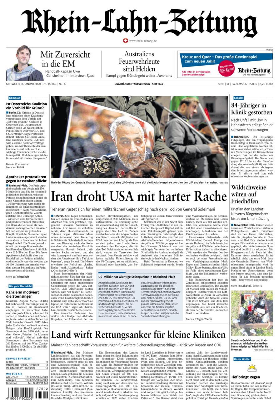 Rhein-Lahn-Zeitung Bad Ems vom Mittwoch, 08.01.2020