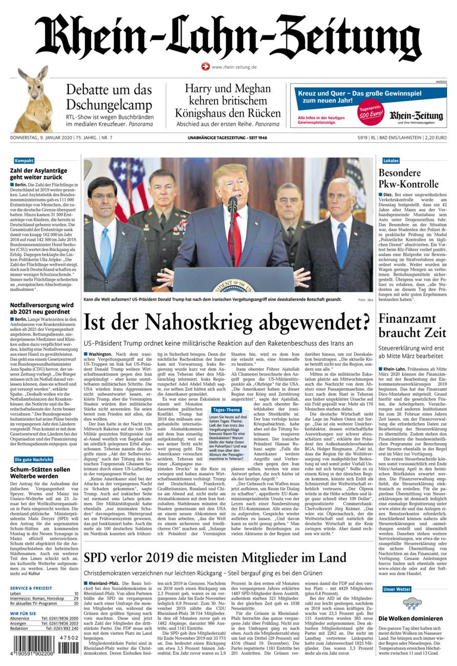 Rhein-Lahn-Zeitung Bad Ems vom Donnerstag, 09.01.2020