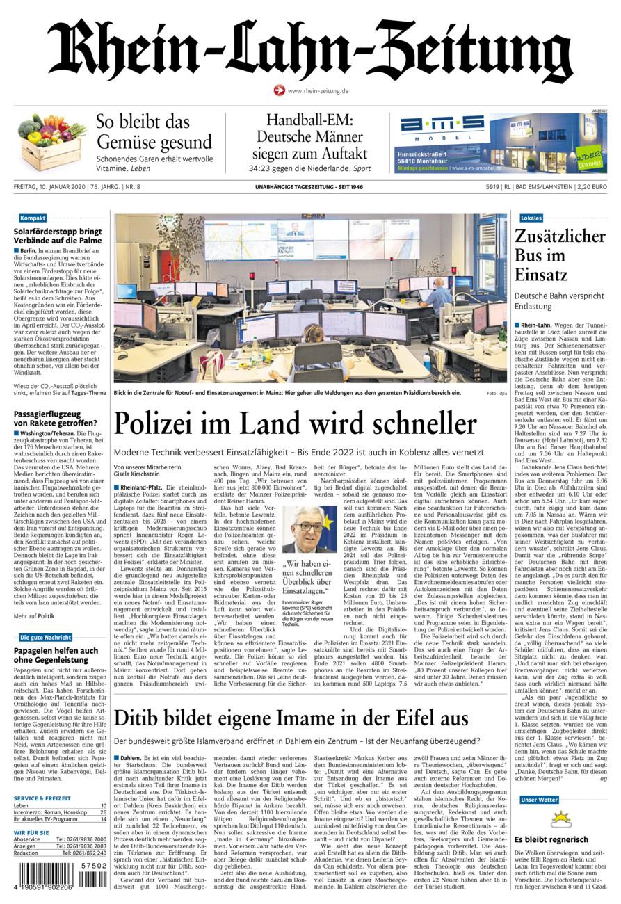 Rhein-Lahn-Zeitung Bad Ems vom Freitag, 10.01.2020