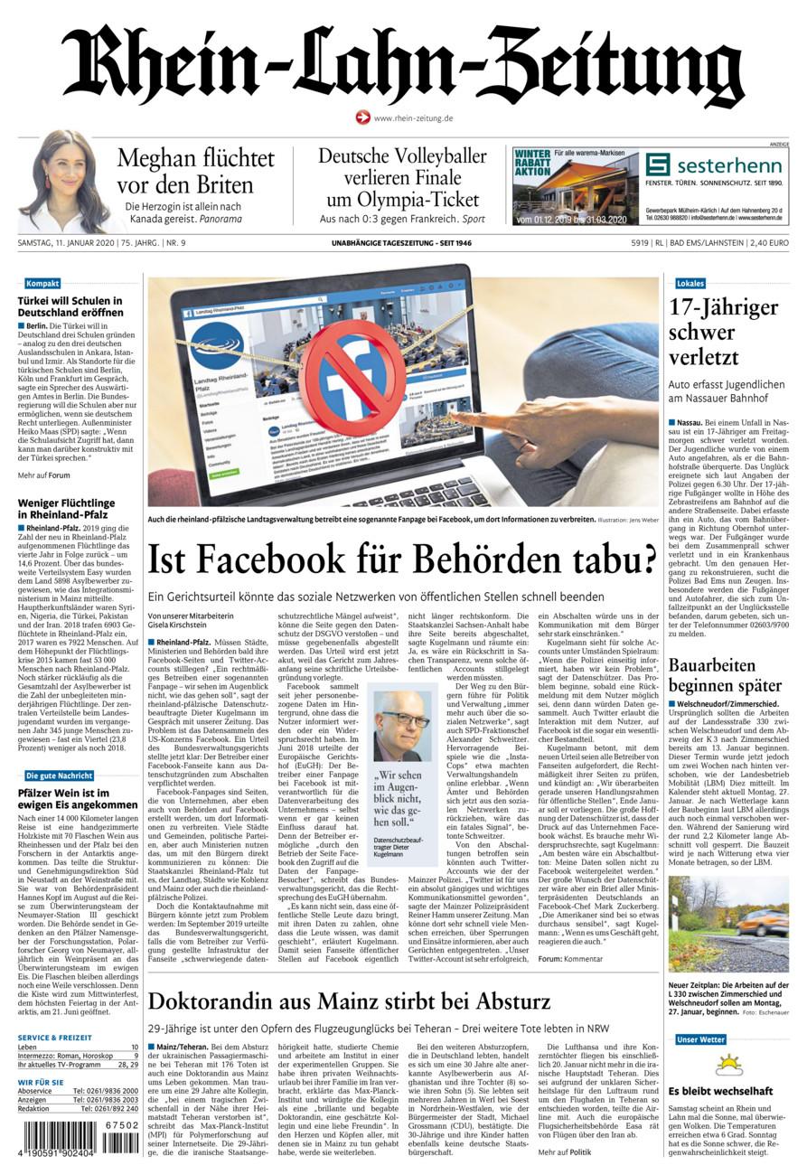 Rhein-Lahn-Zeitung Bad Ems vom Samstag, 11.01.2020