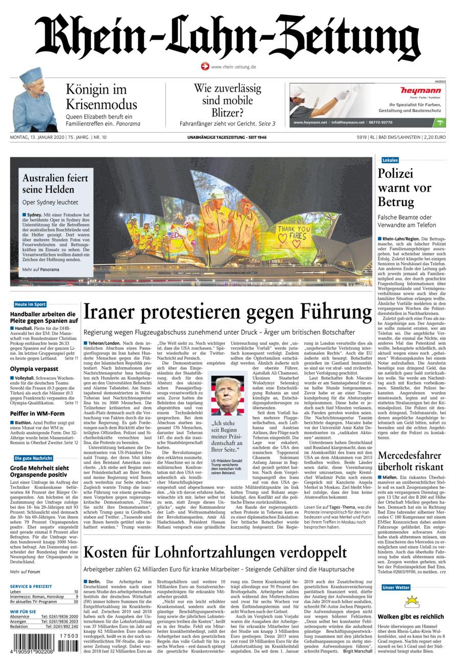 Rhein-Lahn-Zeitung Bad Ems vom Montag, 13.01.2020