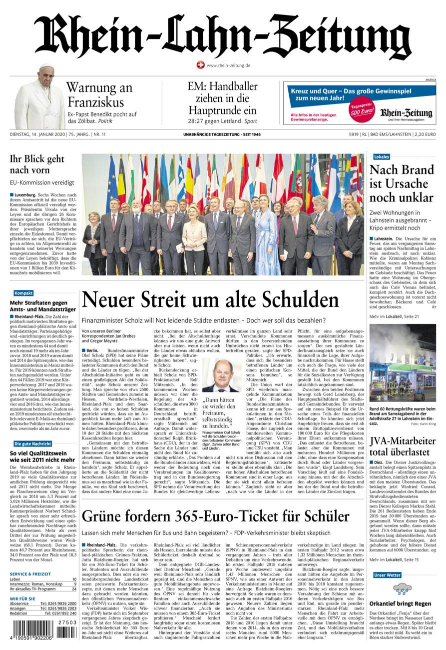 Rhein-Lahn-Zeitung Bad Ems vom Dienstag, 14.01.2020