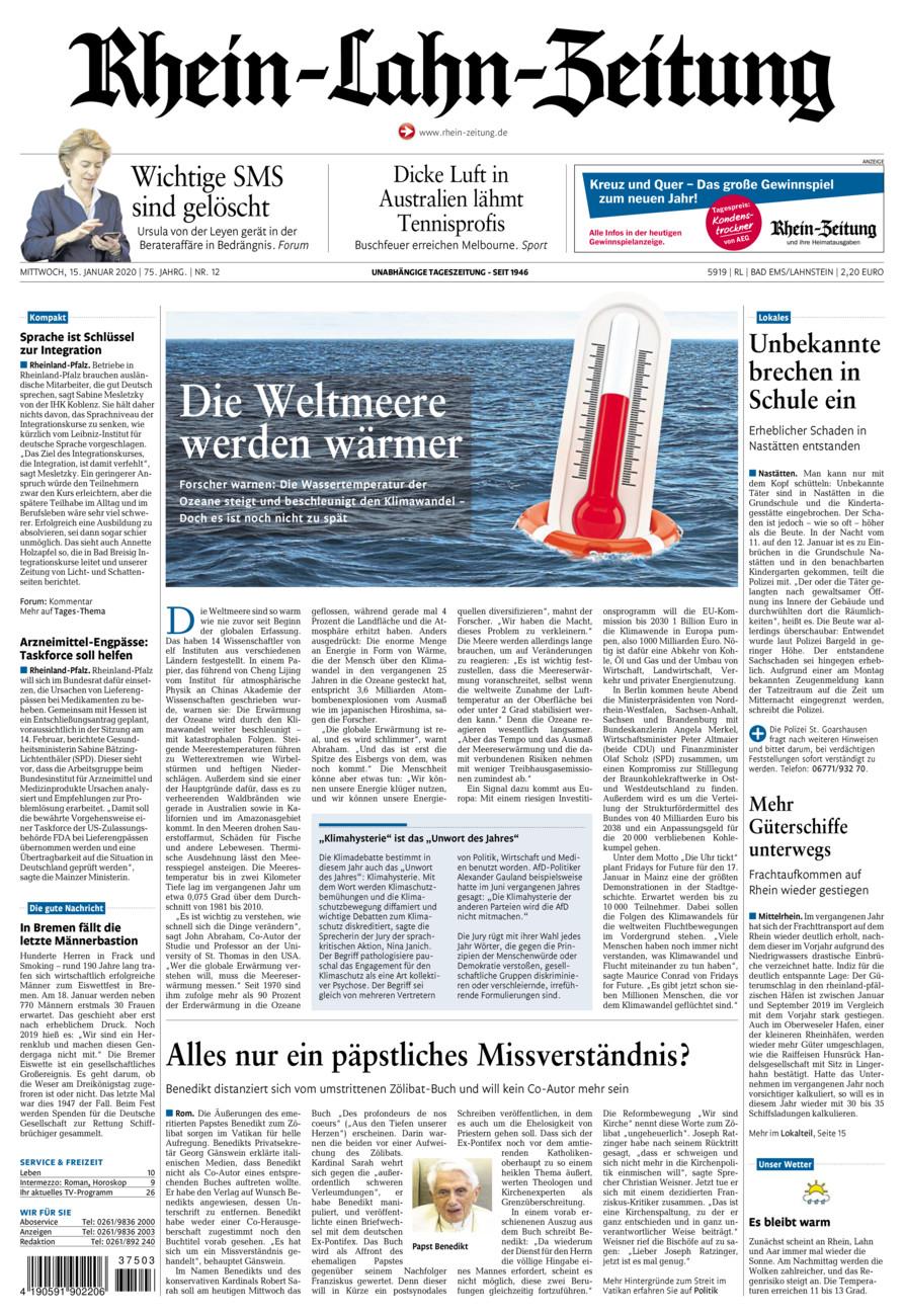 Rhein-Lahn-Zeitung Bad Ems vom Mittwoch, 15.01.2020