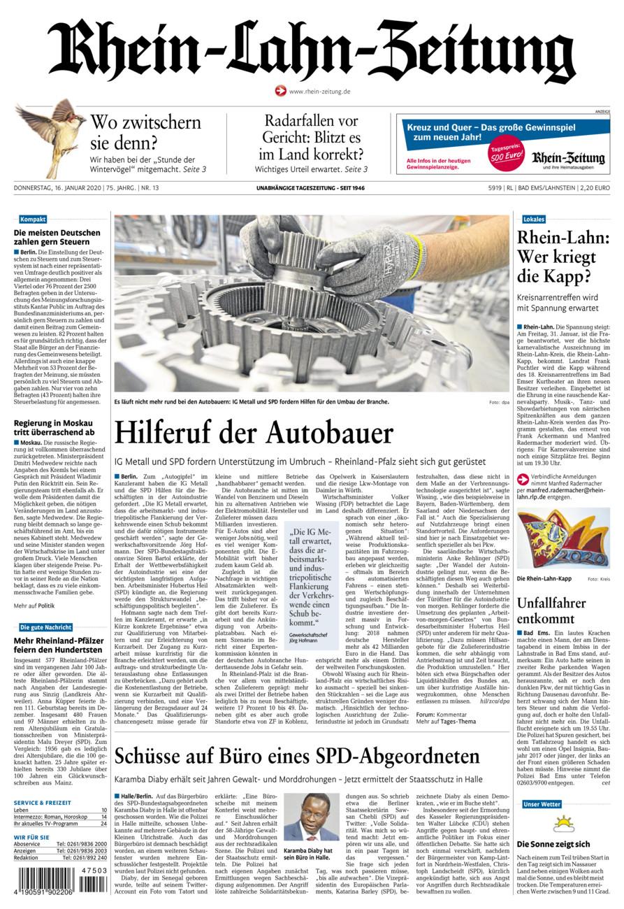 Rhein-Lahn-Zeitung Bad Ems vom Donnerstag, 16.01.2020