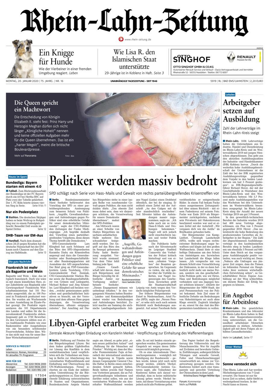 Rhein-Lahn-Zeitung Bad Ems vom Montag, 20.01.2020
