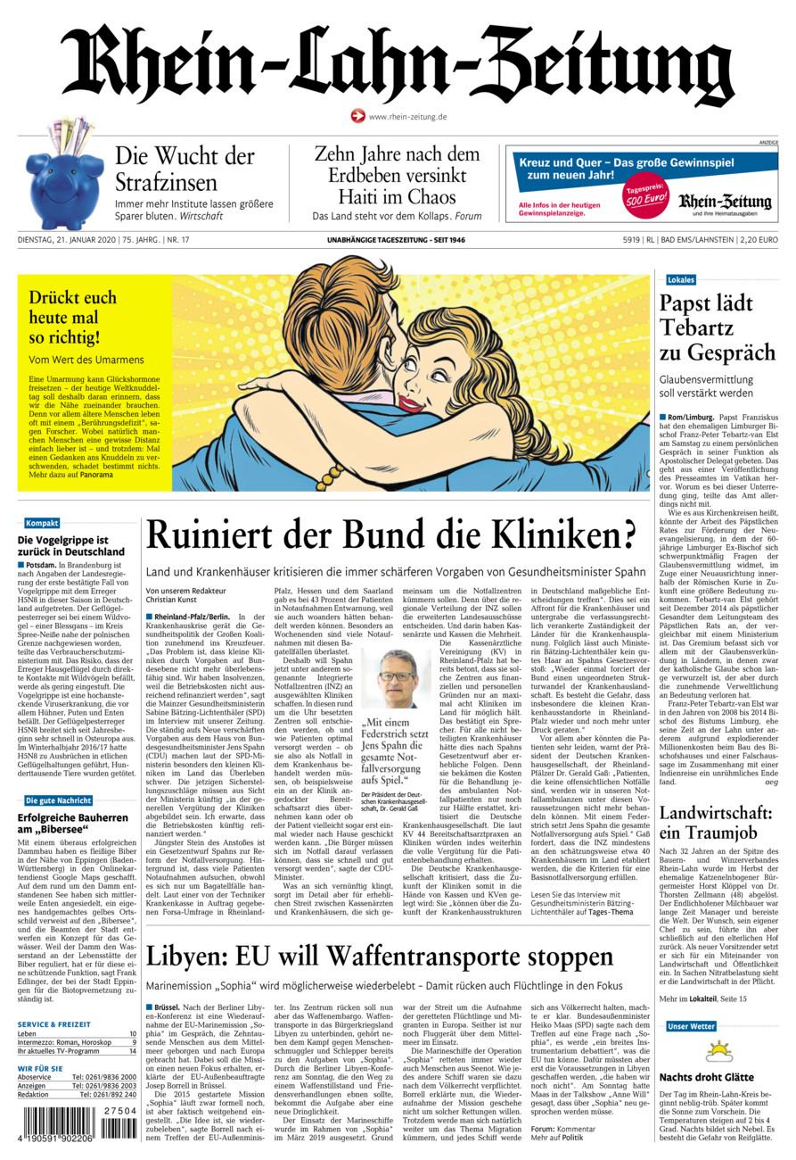 Rhein-Lahn-Zeitung Bad Ems vom Dienstag, 21.01.2020